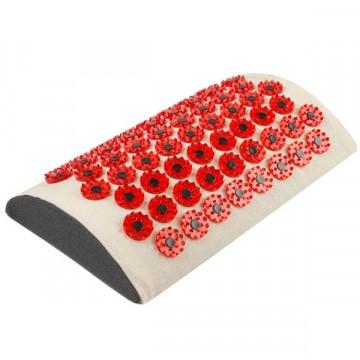 """Массажер медицинский """"Тибетский аппликатор магнитный"""" на мягкой подложке, валик для поясницы красный"""